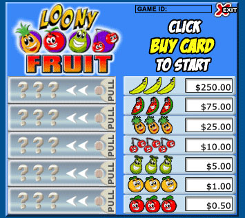 jet bingo loony fruits pull tabs online instant win game