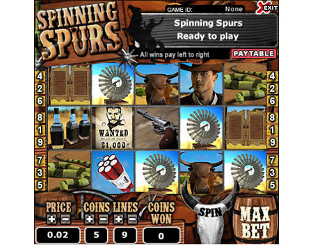 jet bingo spinning spurs 5 reel online slots game