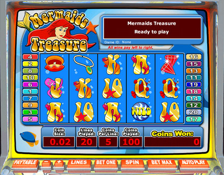 jet bingo mermaids treasure 5 reel online slots game