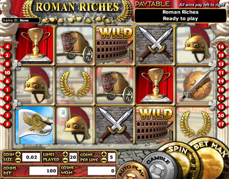 jet bingo roman riches 5 reel online slots game